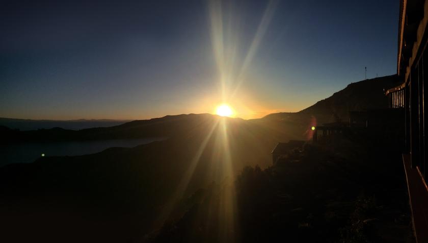 Pôr-do-sol visto do terraço