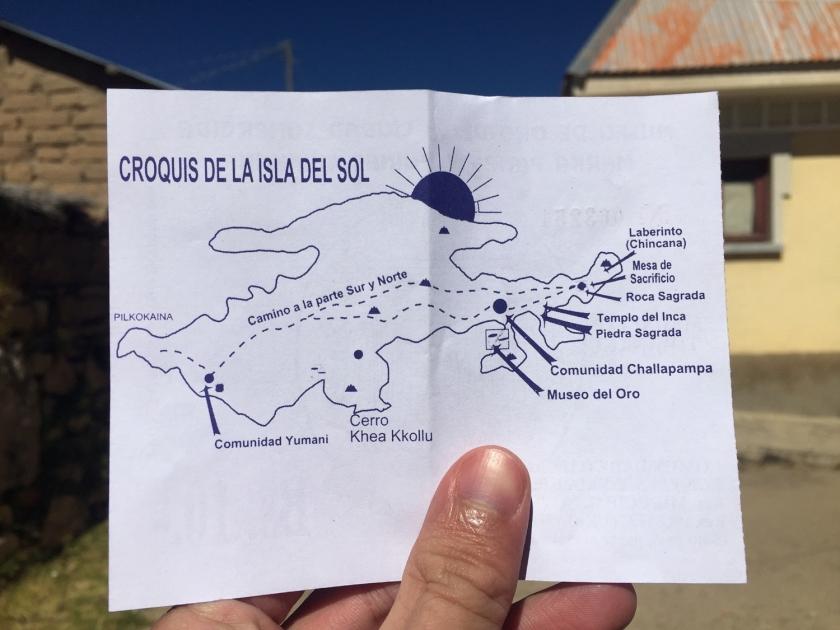 Mapa da Isla del Sol no ingresso