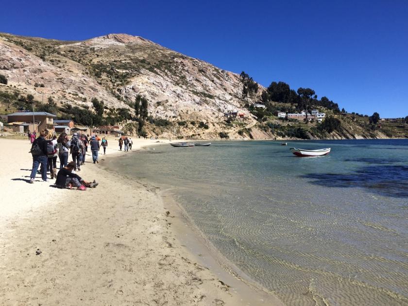 Praia no lago Titicaca