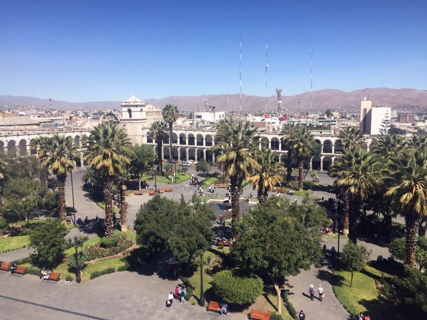 Plaza de Armas vista do terraço da Catedral Basílica de Santa María