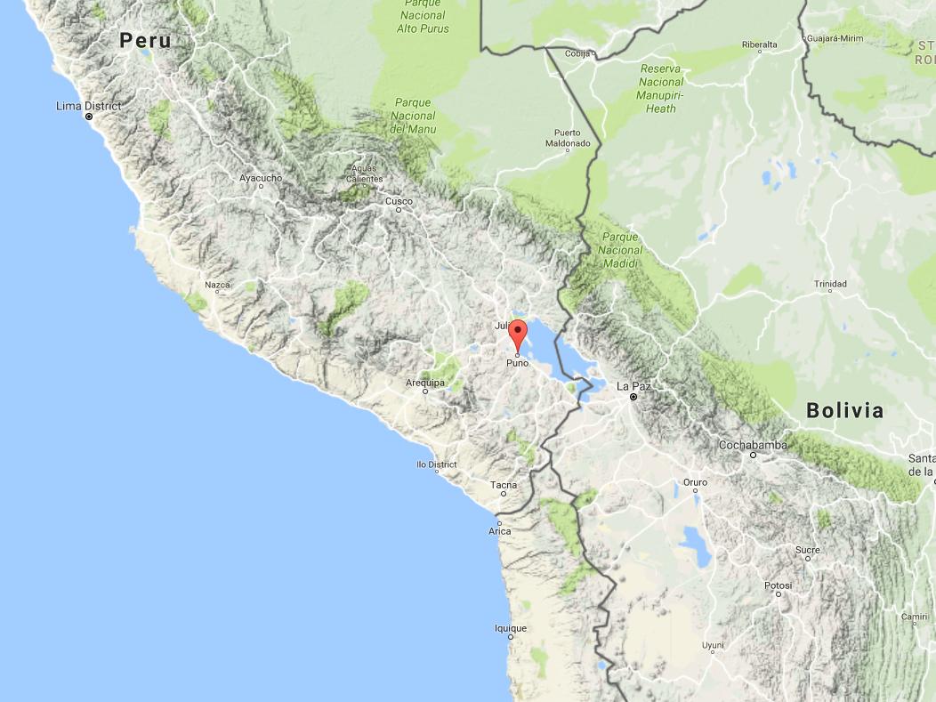 Mapa do relevo na região de Puno