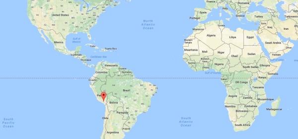 Localização de Arequipa no mapa mundi