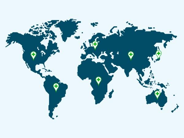 Mapa mundi com símbolos de saúde
