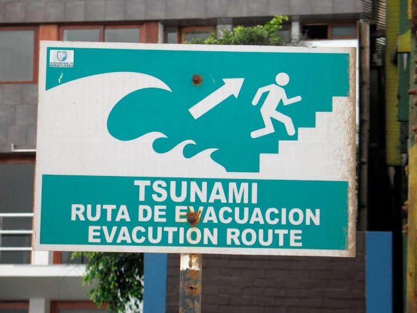 Rota de evacuação em caso de tsunami