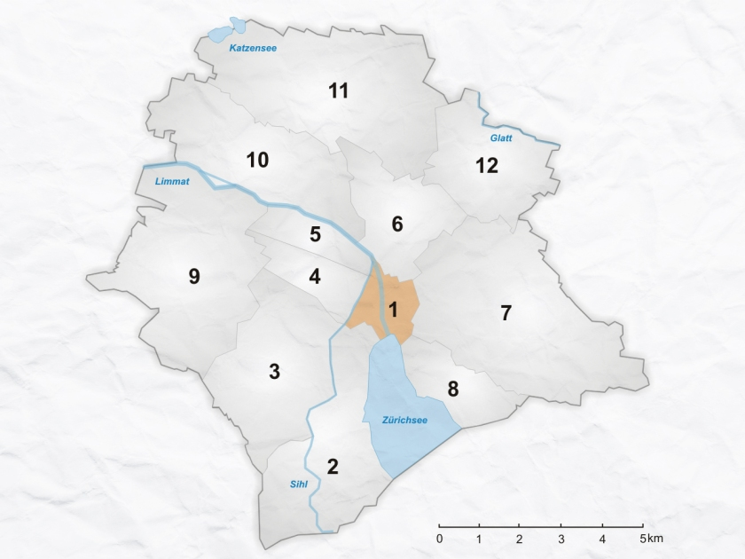 Mapa dos distritos de Zurique