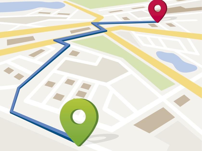 Mapa de localização em cidade