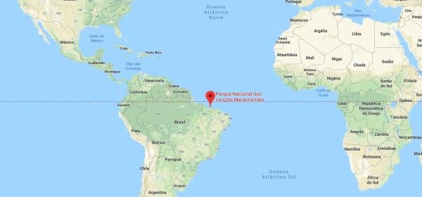 Localização dos Lençóis Maranhenses no Mapa Mundi