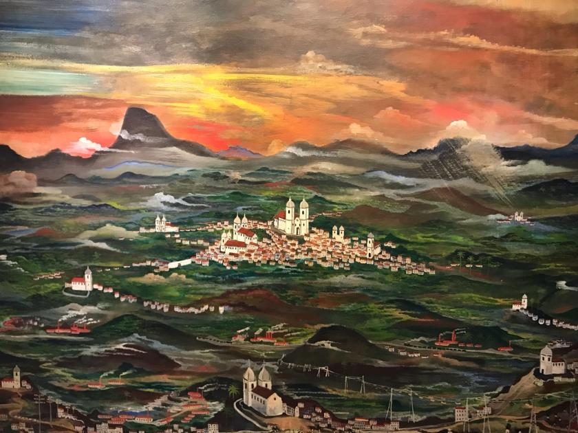 Cidade histórica retratada pelo artista