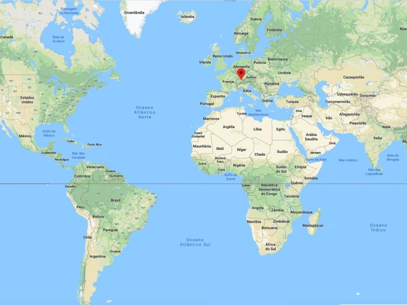 Localização de Lugano no Mapa Mundi