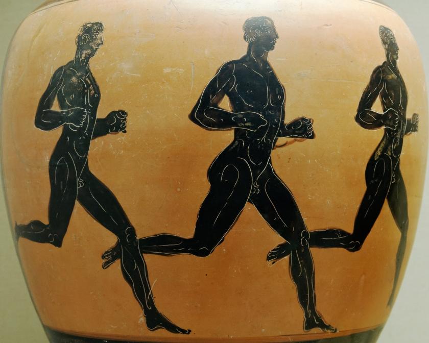 Vaso ilustrado com três corredores