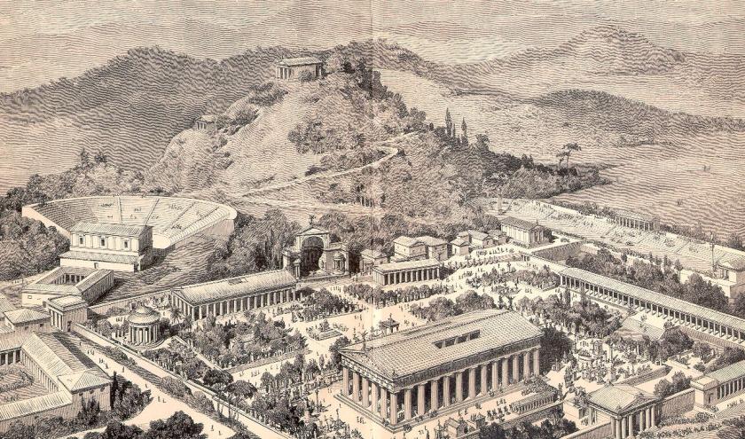 Ilustração da antiga cidade de Olímpia