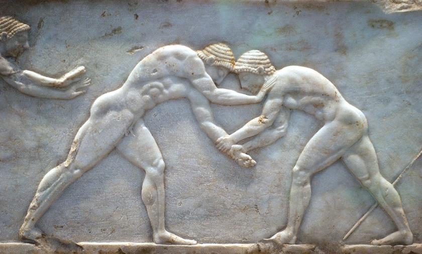 Luta grega representada em mármore