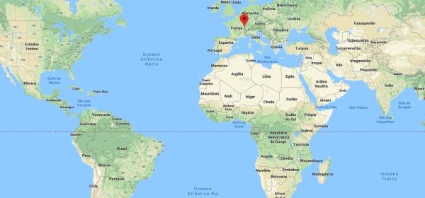 Localização de Genebra no Mapa Mundi