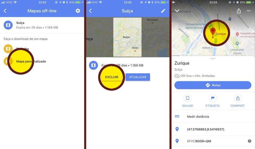 Adicionar, excluir e utilizar mapas off-line