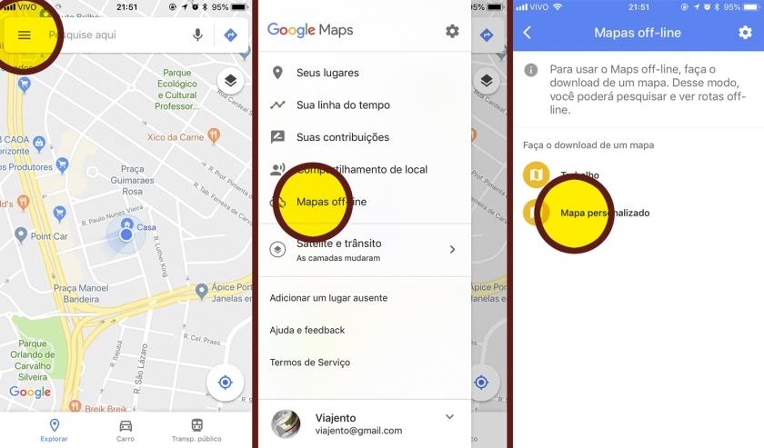 Onde encontrar a função mapas off-line