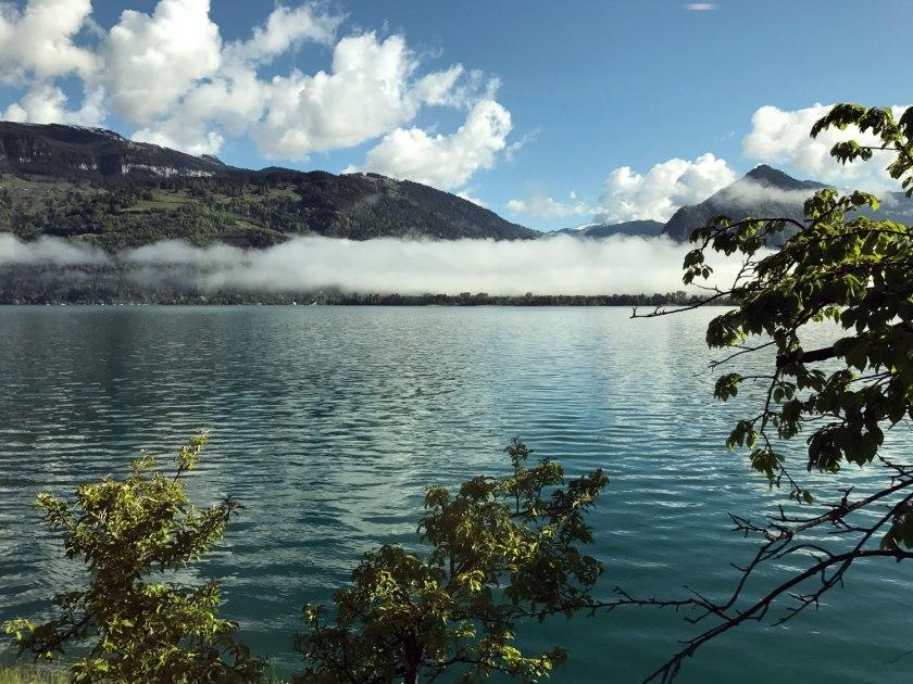 Lago Thun visto no trajeto de trem entre Berna e Interlaken