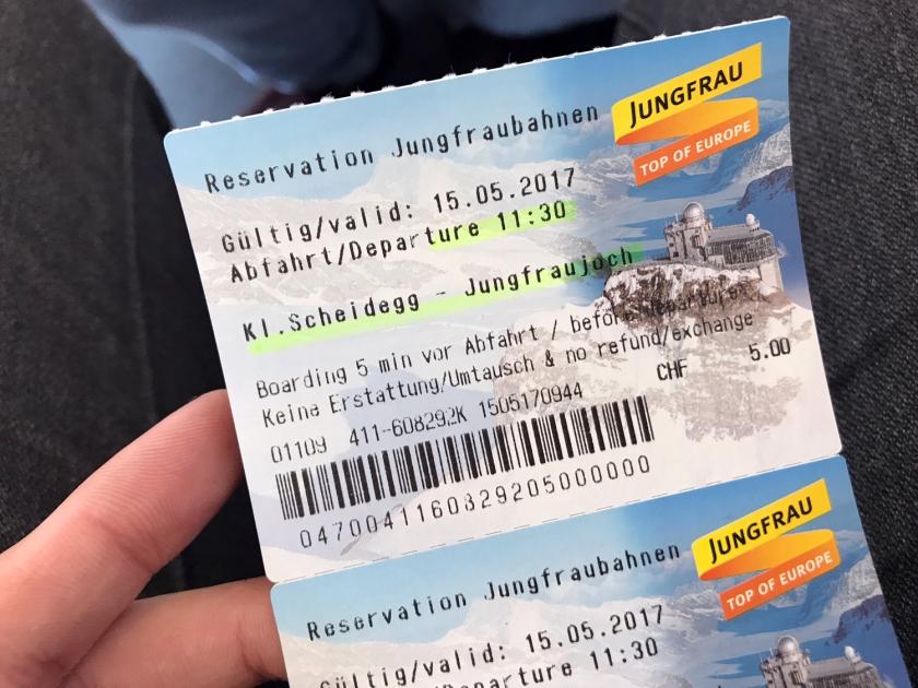 Bilhete para o trem do Jungfraujoch