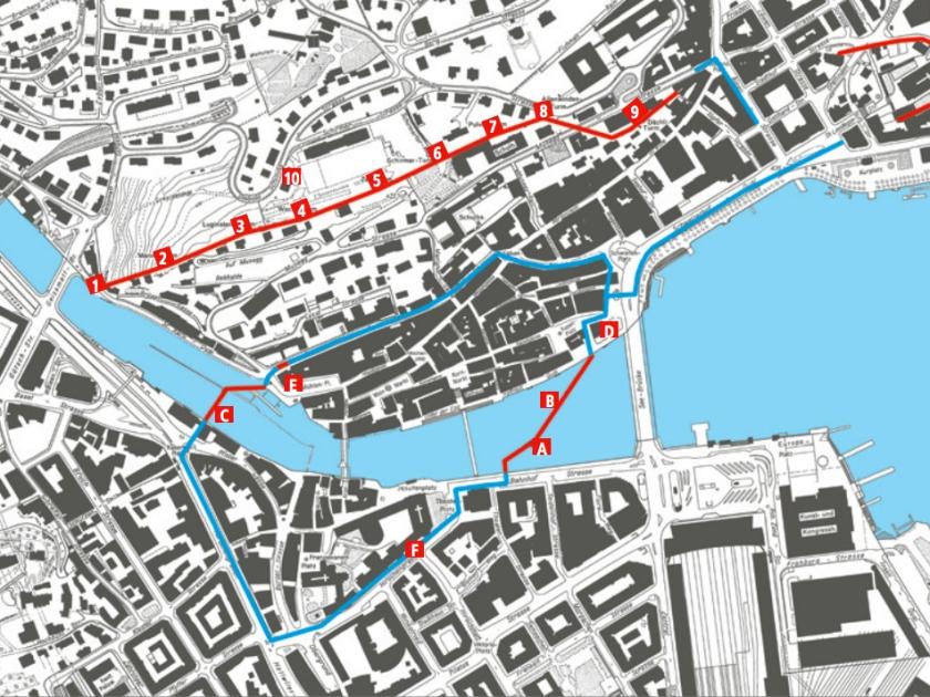 Mapa das fortificações da cidade