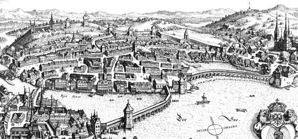 Gravura representando a cidade em 1642