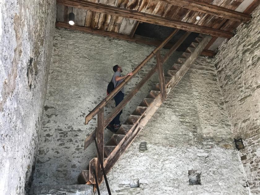 As escadas são bastante íngremes