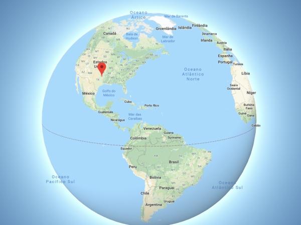 Mapa Mundi com a localização de Dallas