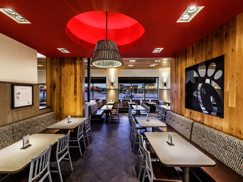 Ambiente interno do fast-food