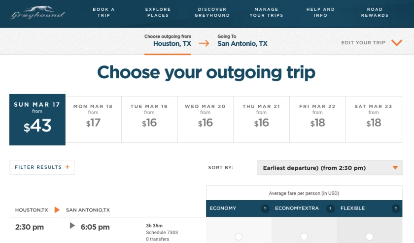 Variação de preços das passagens