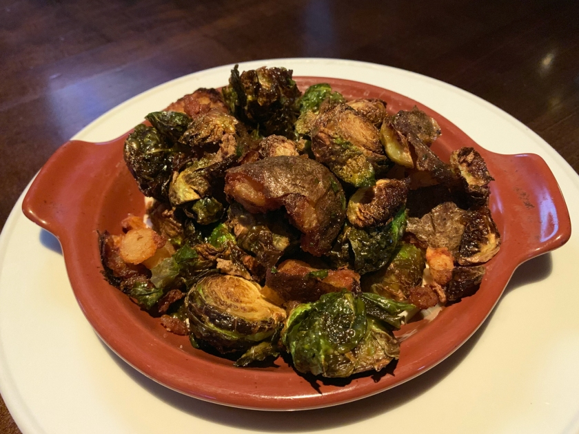 Crispy brussels sprouts and potatoes