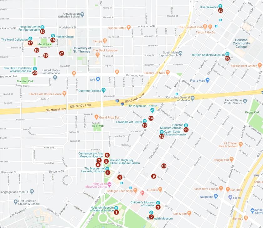 Mapa com a localização dos museus