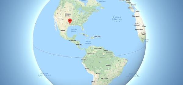 Localização de Houston no mapa mundi