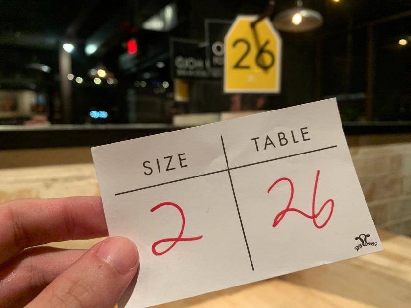 Número da mesa