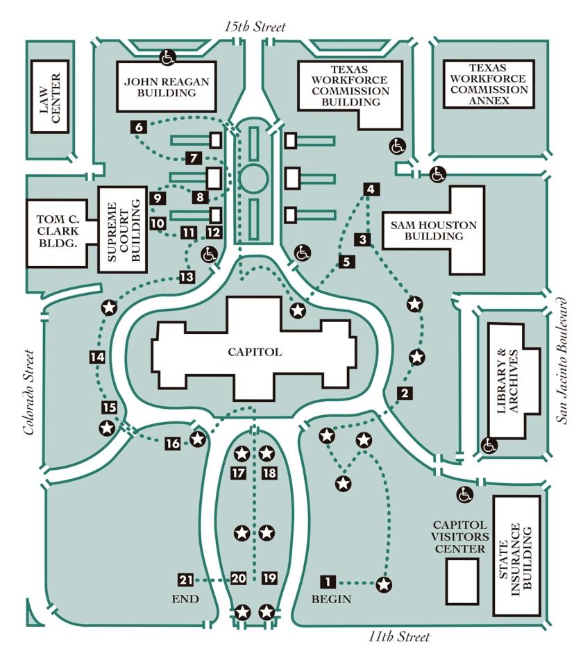 Mapa com roteiro da visita