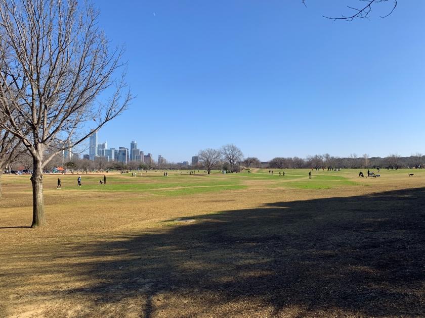 Extenso gramado do parque