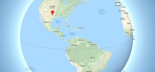 Localização de Austin no Mapa Mundi
