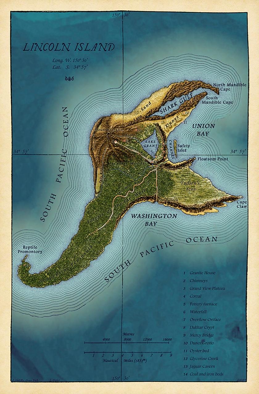 Mapa da misteriosa ilha no Oceano Pacífico