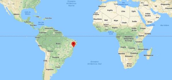 Localização de Salvador no mapa mundi