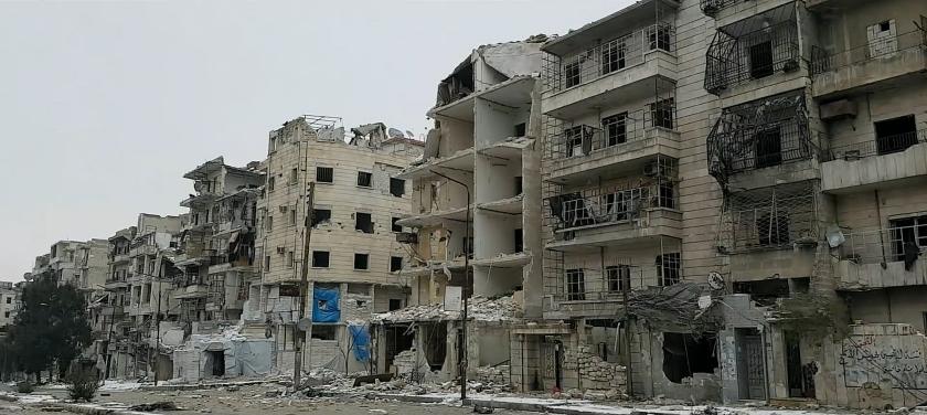 Destruição na cidade de Aleppo