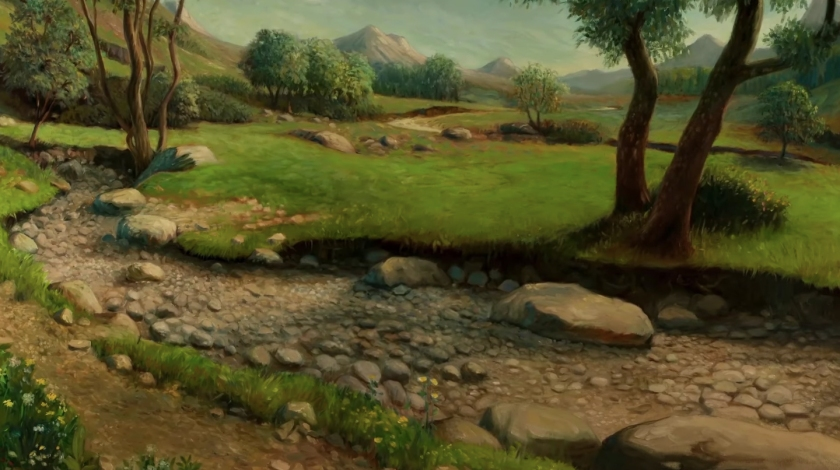 Cenários pintados em tela