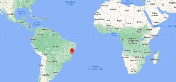 Localização de Arraial d'Ajuda no mapa mundi