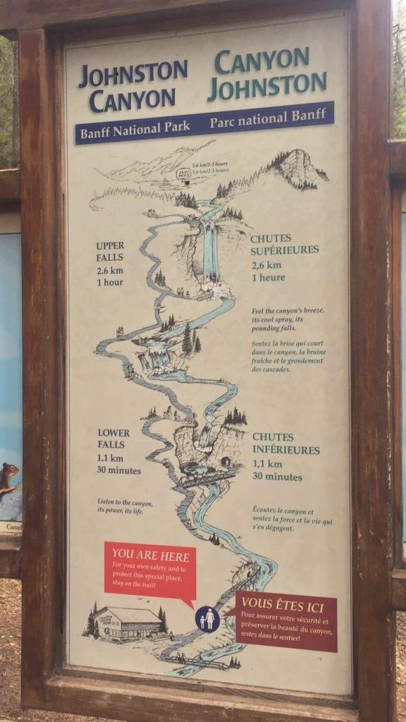 Mapa com distâncias e tempos de caminhada