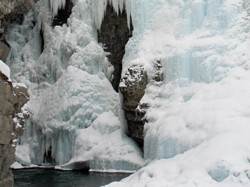 Cachoeiras congeladas do Johnston Canyon