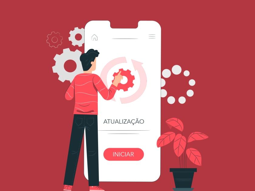 Atualização de aplicativo no celular