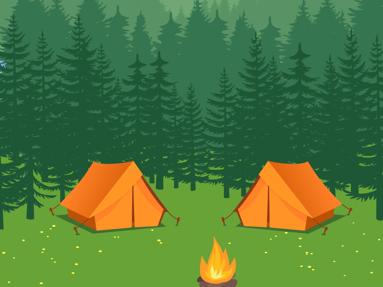 Acampamento com barracas