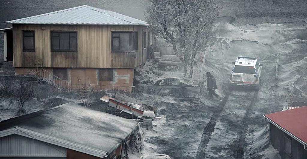 Cidade coberta de cinzas e neve